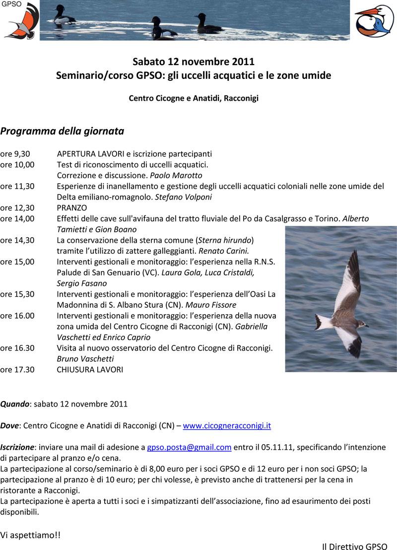 Volantino Seminario e corso GPSO su uccelli acquatici e zone umide, Racconigi 12.11.2011